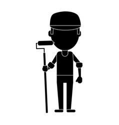 Man painter with roller and cap pictogram vector