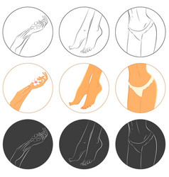 manicure pedicure and bodycare concept icon set vector image