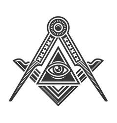 Masonic freemasonry emblem icon logo vector