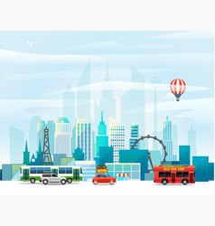 modern cityscape around the world concept vector image