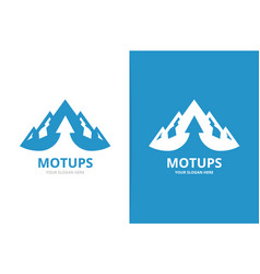 mountain and arrow up logo combination unique vector image