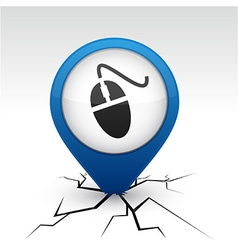 Mouse blue icon in crack vector