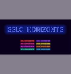 Neon name of belo horizonte city vector