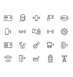 nfc line icon set near field communication vector image