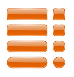 orange glass buttons collection of menu interface vector image