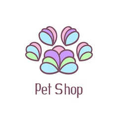 Original pet shop logo with pet paw vector image