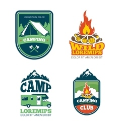 Outdoor adventure camp hiking camping vector image