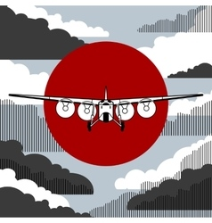 Plane icon over vintage background vector