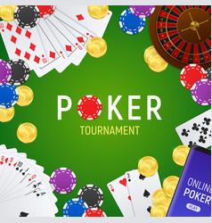 Poker tournament realistic frame vector