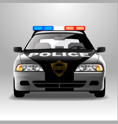 Police car in frontal view vector