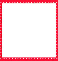 Red and white square frame made of animal paw vector