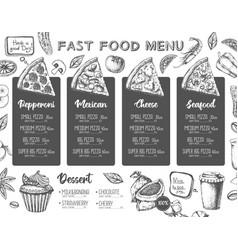 restaurant pizza menu design decorative sketch vector image