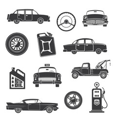 retro cars and items icons vector image