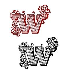Retro W letter vector image