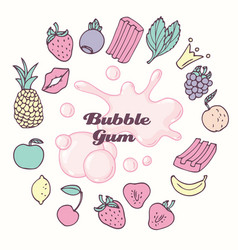 Round frame with hand drawn bubble gum and fruit vector
