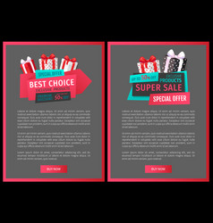 sale tags with info about discount web site vector image