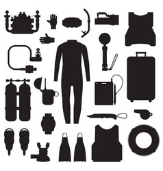 Scuba diving and snorkeling gear icons vector