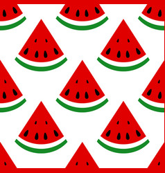 seamless background watermelon slices on a white vector image