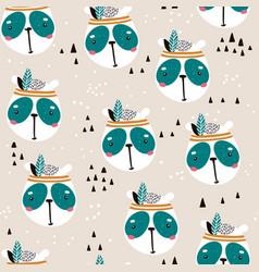 Seamless pattern with cute panda face cartoon vector