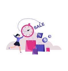 Seasonal shopping woman hurry in mall vector
