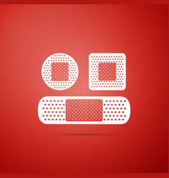 set bandage plaster icon on red background vector image