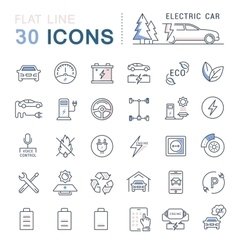 Set Flat Line Icons Electric Cars vector image