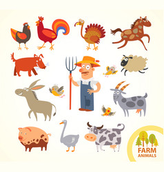 Set funny farm little animals cartoon character vector