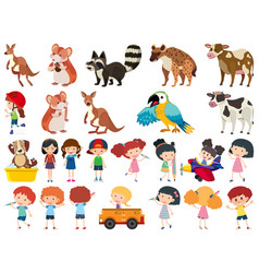 Set isolated objects theme animals vector