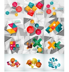 Set of paper graphic infographic modern template vector image