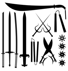 Set of silhouettes bladed weapons vector image