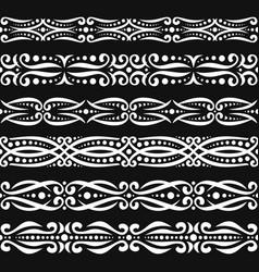 Set white seamless borders vector