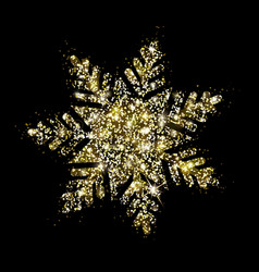 Shiny gold glitter snowflake sparks vector