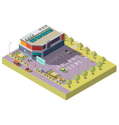 Shopping center with parking isometric vector