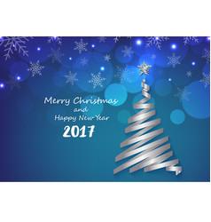 Silver ribbon make Christmas tree shape on blue sn vector image