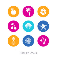 Simple modern nature icons collection vector