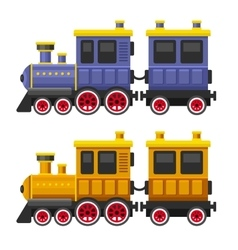 Simple Style Color Toy Trains and Wagons Set vector
