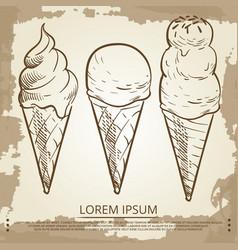 sketch ice cream cones on grunge vintage page vector image