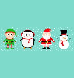 snowman santa claus elf penguin set happy new vector image