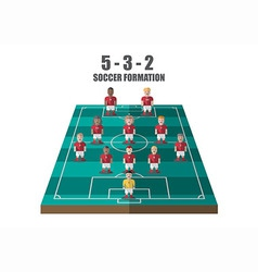 Soccer strategy 5 3 2 perspective pitch vector image