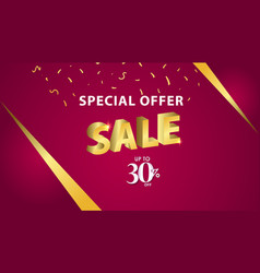 Special offer sale up to 30 off template design vector