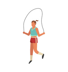 sportswoman jumping rope outdoor activity female vector image