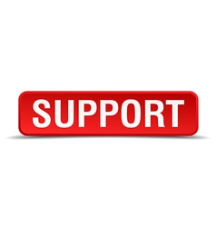 Support red 3d square button isolated on white vector