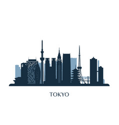 Tokyo skyline monochrome silhouette vector