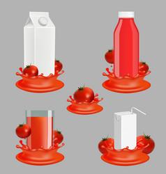 tomato juice package realistic mockup set vector image