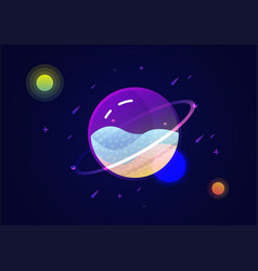 Transparent planet in fantasy space vector