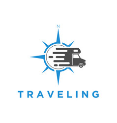Traveling logo with wind rose and van icon simple vector