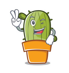 two finger cute cactus character cartoon vector image