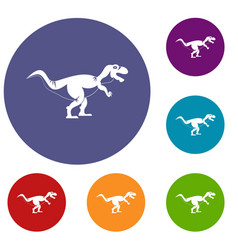 tyrannosaur dinosaur icons set vector image