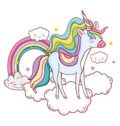 unicorn on clouds cartoons vector image