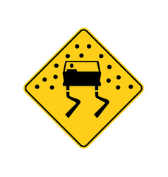 Usa traffic road signs pavement is slippery when vector